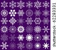 Big collection white snowflakes isolated on violet (vector) - stock vector