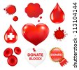 Big Collection With Blood Drop And Heart, Vector Illustration - stock photo