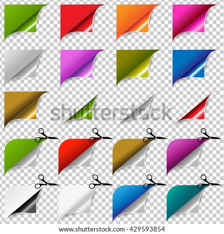Big Color Corners Set, Isolated on Transparent Background, Vector Illustration - stock vector