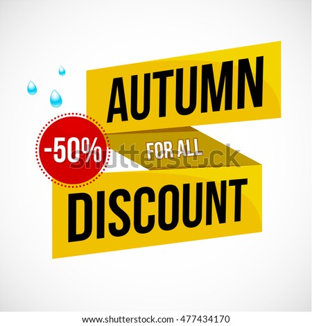 Big colorful autumn sale discount logo, emblem or sticker design