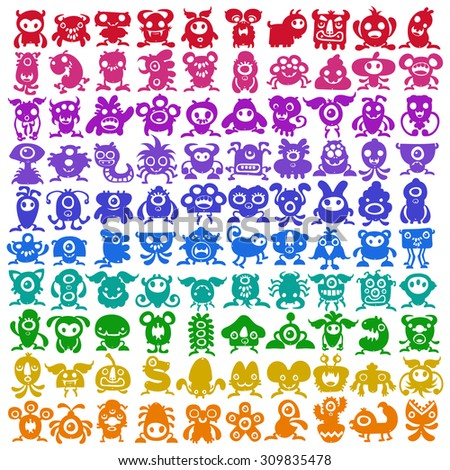 Big colorful collection of weird monster creatures - stock vector