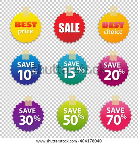 Big Colorful Sale Tags, Isolated on Transparent Background, With Gradient Mesh, Vector Illustration - stock vector