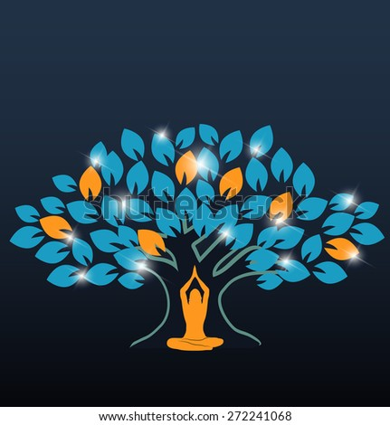 Big colorful tree and woman in yoga pose at the front - stock vector