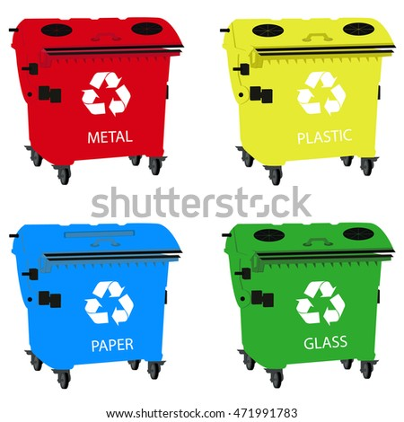 Big containers for recycling waste sorting, recycle bin - plastic, glass, metal, paper