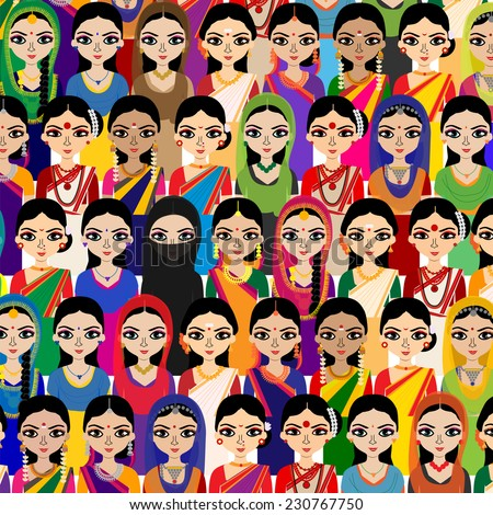 Big crowd of Indian women vector avatars detailed illustration - Indian woman representing different states/religions of India.  - stock vector