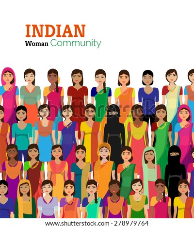Big crowd of Indian women vector avatars detailed illustration - Indian woman representing different states/religions of India.
