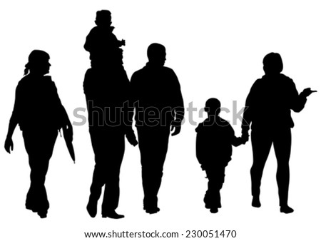 Big crowds children on white background - stock vector