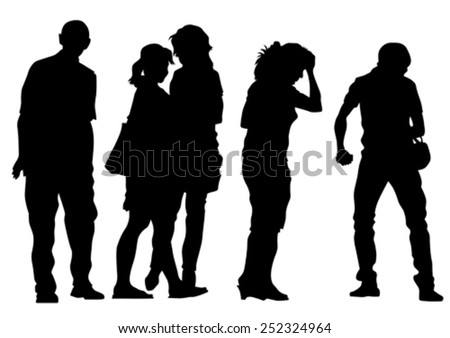 Big crowds people of wedding on white background - stock vector