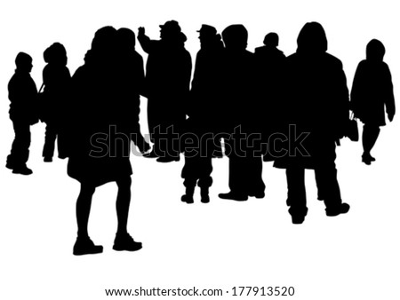 Big crowds people on street - stock vector