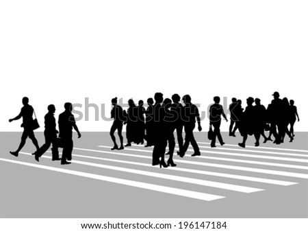 Big crowds people on street - stock vector