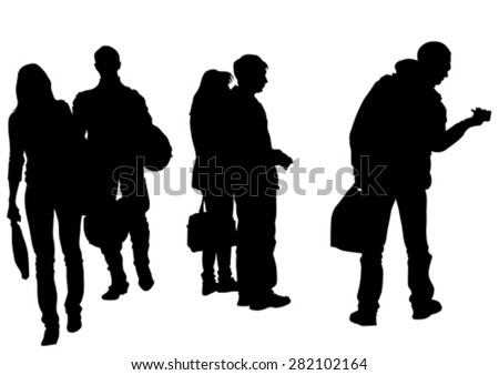 Big crowds people on white background - stock vector