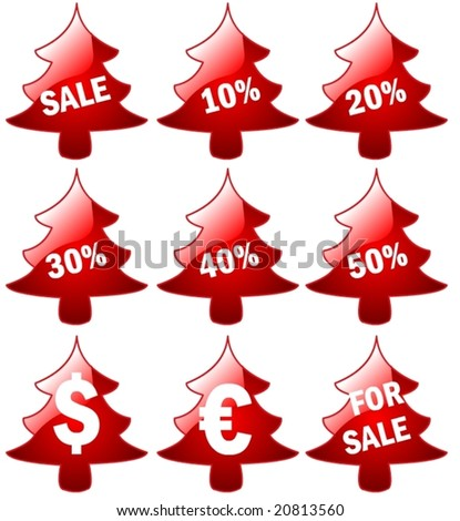 big 3d Set of red price tags in vector design - stock vector