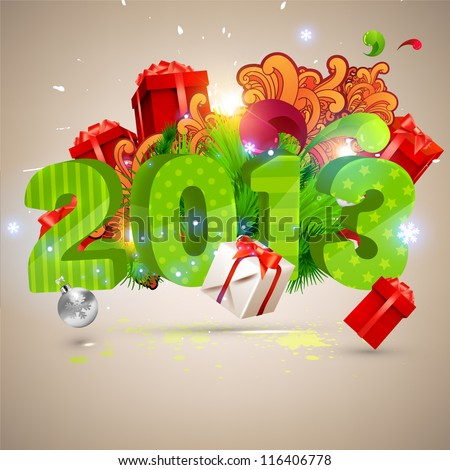 Big 2013 3d vector letters for Christmas and New Year design. Balls, gifts, ornaments - set of elements for Xmas design. - stock vector