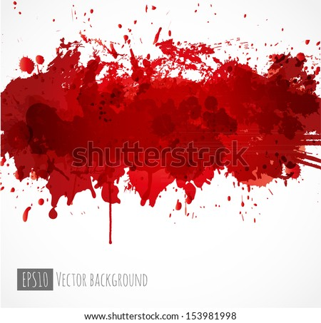Big dark red splash on white background. Vector illustration. Grunge background with place for your text.  - stock vector