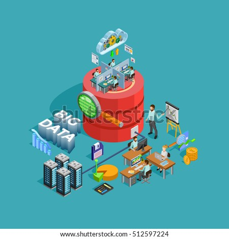 Big data access storage distribution information management and  analysis for efficient business planning isometric poster vector illustration