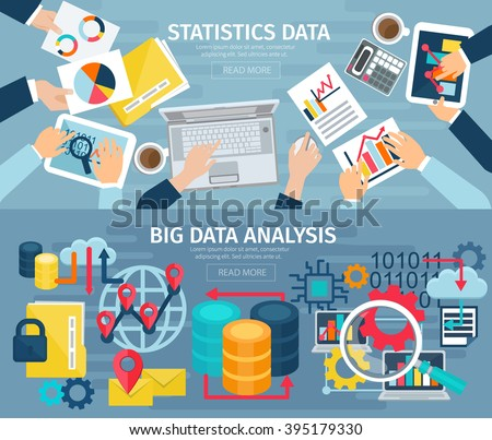Big data analysis and database statistic systems 2 flat banners with computers laptops abstract isolated illustration vector - stock vector