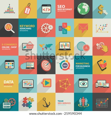 Big data analysis,business marketing,seo marketing design,flat design,clean vector - stock vector