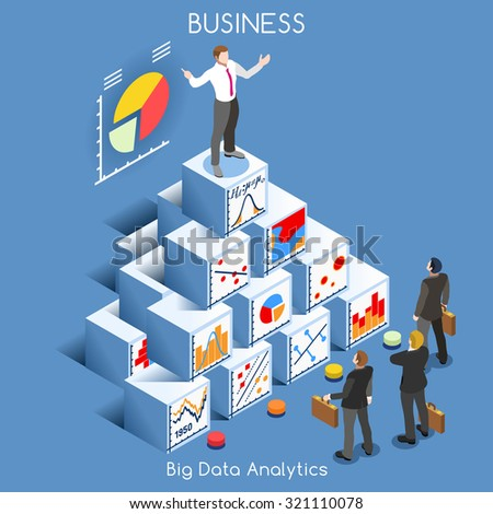 Big Data Analytics Data Mining. Interacting People Unique Isometric Realistic Poses. NEW bright palette 3D Flat Vector Icon Set. Statistics Concept. A Man Speaking on Top of a Graph Pile of Cubes - stock vector