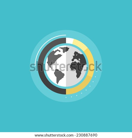 Big data analytics, global information research and world statistics, corporate business graph sign. Flat icon modern design style vector illustration concept.  - stock vector