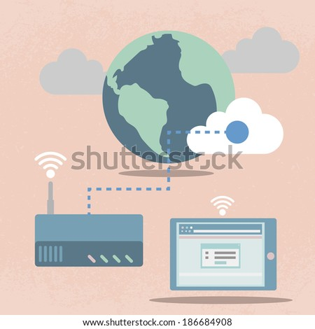 Big Data, Cloud computing concept, Flat design - stock vector