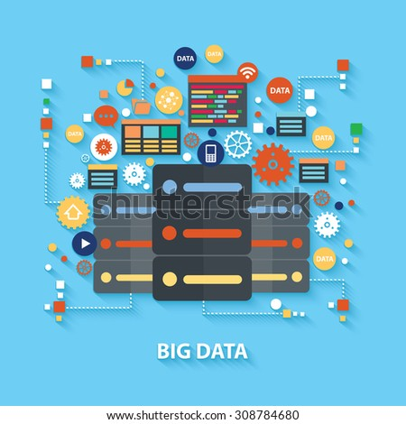 Big data concept design on blue background,clean vector - stock vector