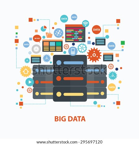 Big data concept design on white background,clean vector - stock vector