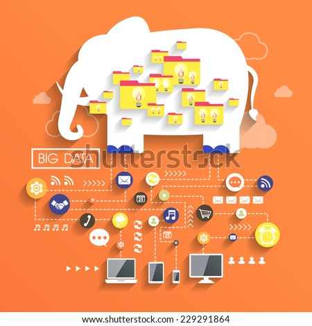 big data concept in flat design with elephant image - stock vector