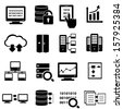 Big data, cybersecurity and technology icon set - stock vector