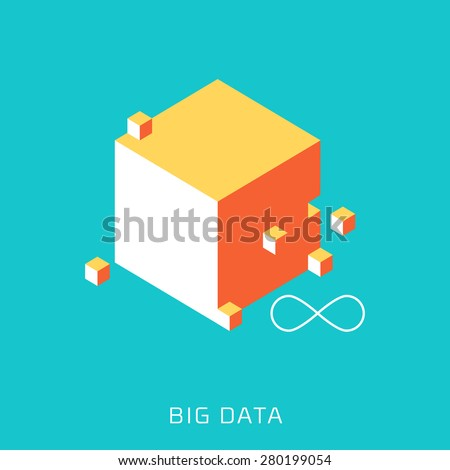 Big Data, flat style, colorful, vector icon for info graphics, websites, mobile and print  media. - stock vector