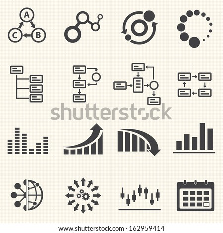 Big Data icon set, Business Infographic  - stock vector