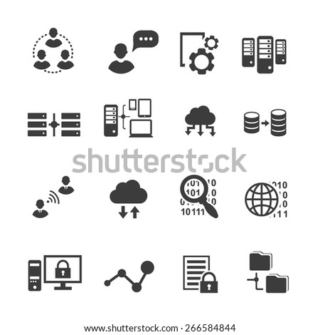 Big data icon set, data analytics, cloud  computing. digital  processing vector - stock vector