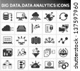 big data icon set, data analytics icon set, cloud computing icon set - stock