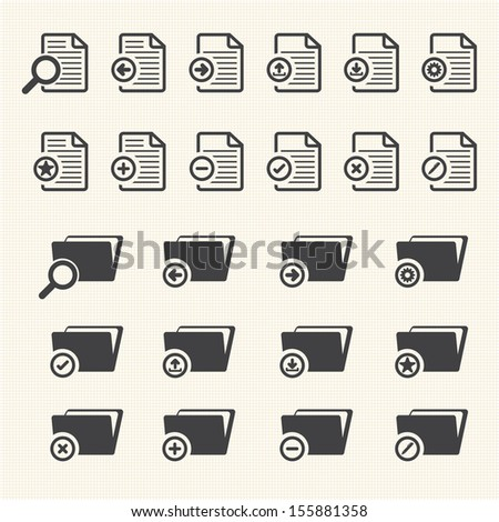 Big Data icon set, Documents and File Folder - stock vector