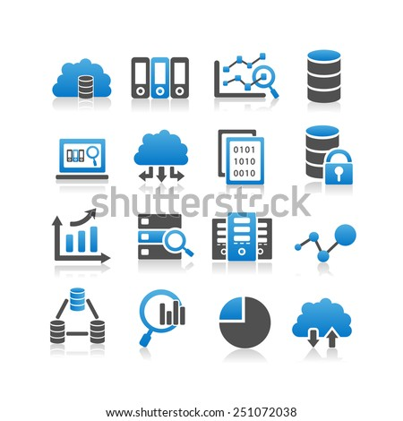 Big Data icon set - Simplicity Series - stock vector