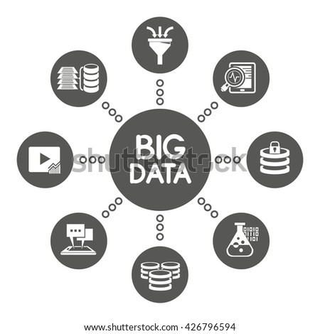 big data icons, information technology and network concept - stock vector