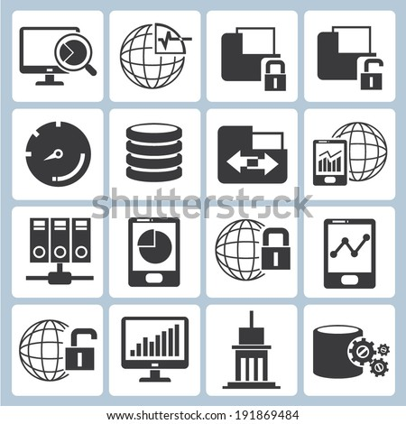big data icons set - stock vector