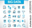 big data icons set and web analytics icons set - stock photo