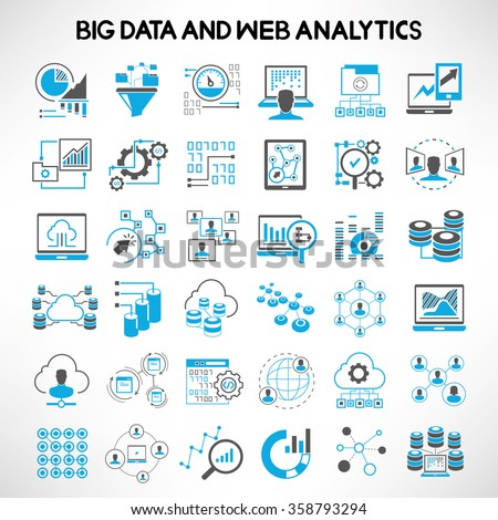 big data icons, web analytics icons, data analytics icons, network analytics icons set - stock vector