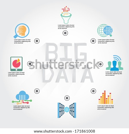 big data info graphic, information technology concept diagram - stock vector