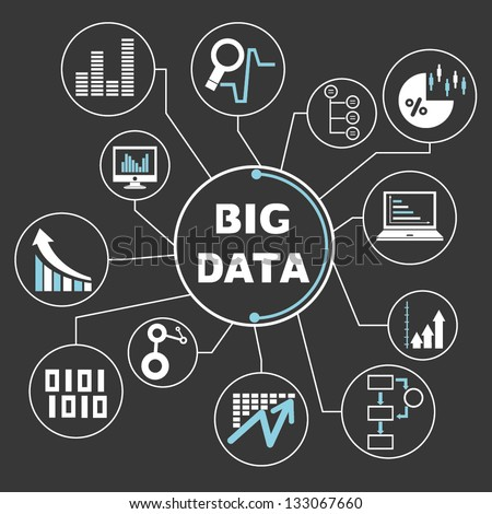 big data mind mapping, info graphics - stock vector