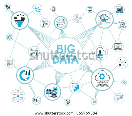 big data network and information technology concept - stock vector