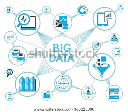 big data network concept, big data icons  - stock vector
