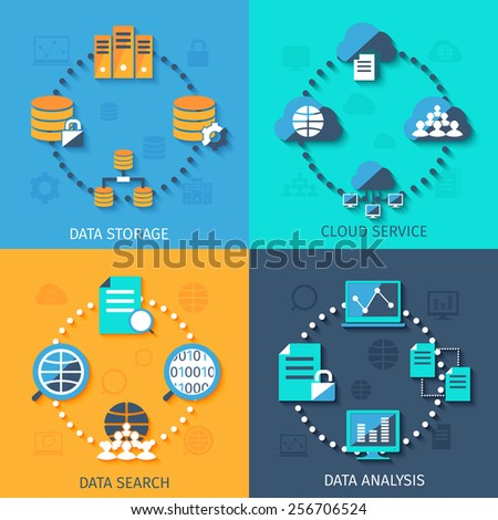 Big data secure storage and analysis cloud service system 4 flat icons composition abstract isolated vector illustration - stock vector