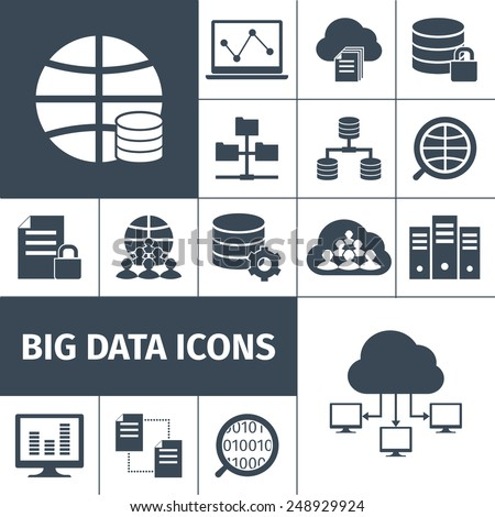 Big data secure transmitting processing accumulating computers international network symbols icons collection black graphic vector isolated illustration - stock vector