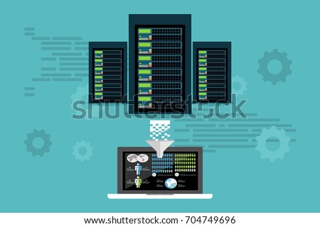 big data server data mining extract stock vector 704749696 shutterstock. Black Bedroom Furniture Sets. Home Design Ideas