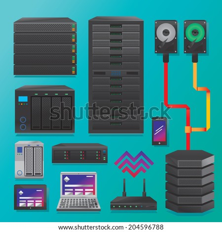 Big data servers and hardware - stock vector