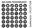 big data technology icons set, data analytic icons - stock photo