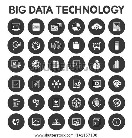 big data technology icons set, data analytic icons - stock vector