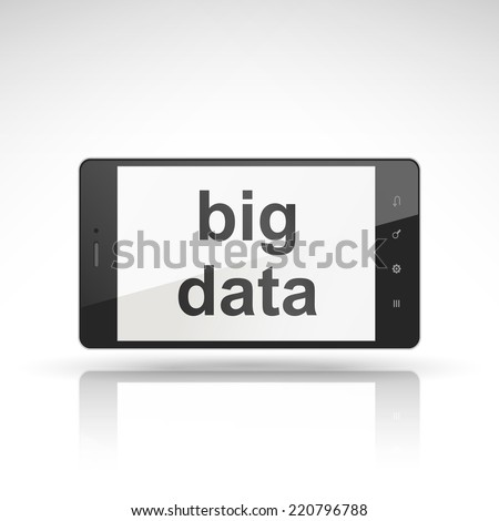 big data words on mobile phone isolated on white - stock vector