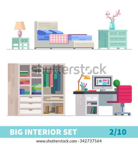 Big detailed Interior set. Comfortable light bedroom: Lamp, bed, cozy blanket, cherry blossom on a chest of drawers, wardrobe, computer on a table.  Flat vector stock illustration.  - stock vector